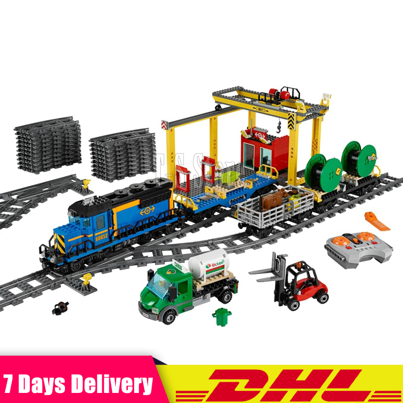 DHL IN Stock LEPIN 02008 959PCS The Cargo Train Remote Control Set Educational Building Blocks Bricks Toys Gift Clone 60052 lepin 02008 the cargo train 959pcs city series legoingly 60052 plate sets building nano blocks bricks toys for boy gift
