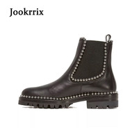 Jookrrix 2017 Autumn Fashion Women Chelsea Boots Retro Rivets Lady Genuine Leather Shoes British Style Ankle