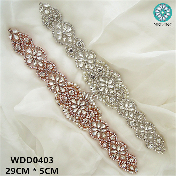 10PCS Wholesale handmade beaded bridal rose gold silver clear crystal rhinestone appliques iron on for