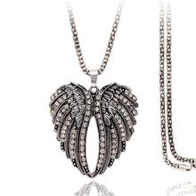цена на imixlot New vintage Alloy Zircon Crystal Pendent Necklace for Women Simple Peach Heart Wings Long Sweater Chain Necklace Jewelry