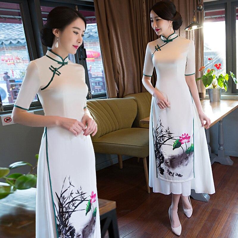 Shanghai histoire Vietnam aodai chinois traditionnel vêtements chine robe qipao longue chinoise cheongsam robe moderne cheongsam