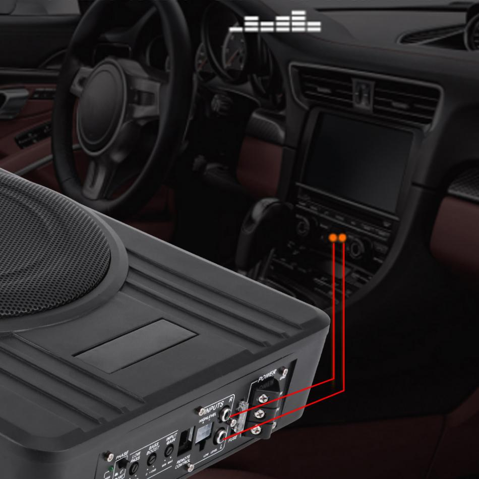 10in 600w Ultra Thin Under Seat Car Active Subwoofer Audio Bass Amplified Wiring 1 Power Wire Grounding Ofc Control High Level Input Line User Manual