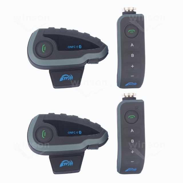 2 unids 5 pilotos interfone V8 1200 M motocicleta interphone bluetooth casco auriculares con mando a distancia FM bt intercomunicador moto
