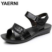 YAERNI 2017 summer new fashion Woman sandals mother large size Flat leather Sandals slip comfort elderly Soft bottom sandals