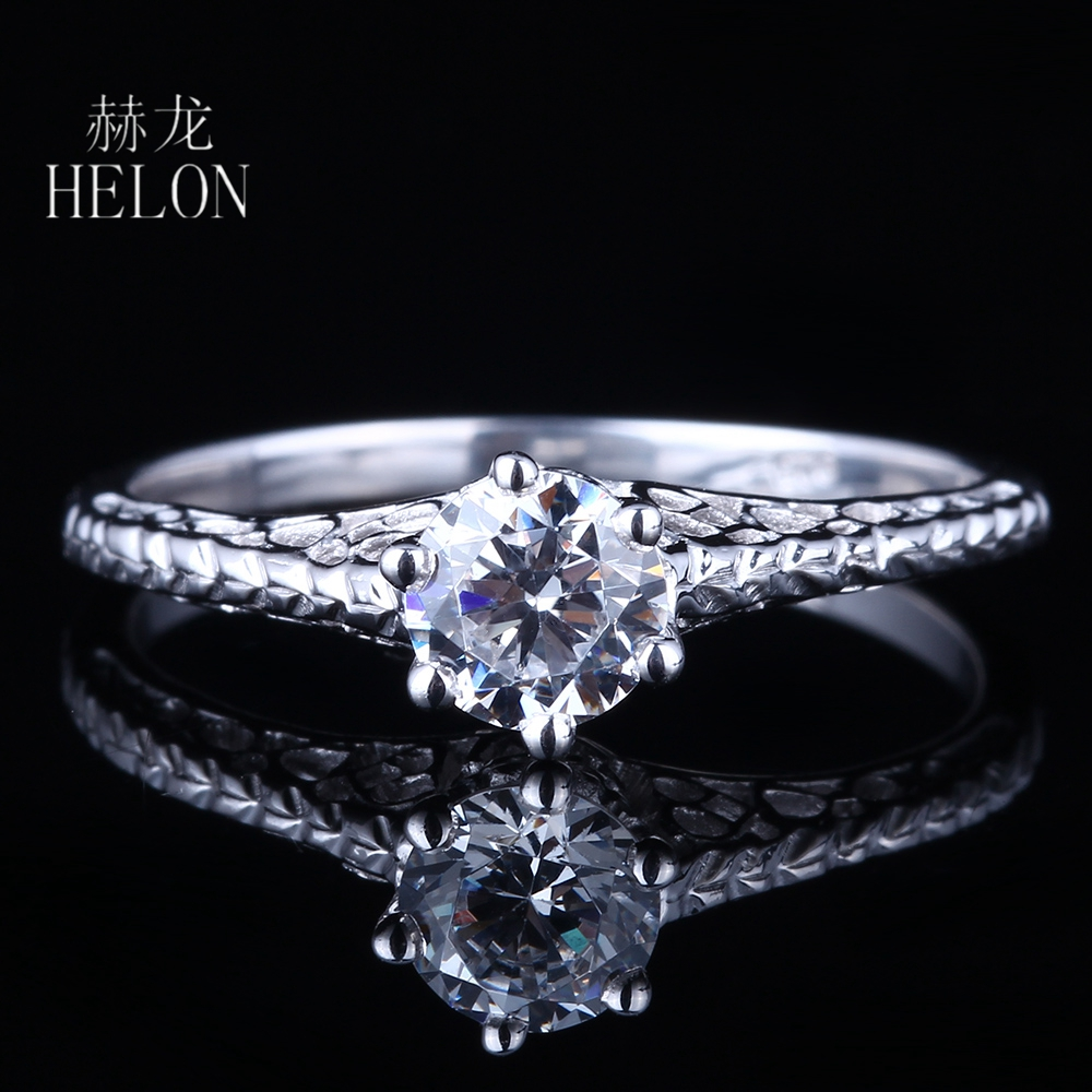 HELON Solid 10K White Gold 0.5ct Test Positive Lab Grown Moissanites Diamond Ring 5mm Round Engagement Art Deco Antique Jewelry helon 1 25ct test positive lab grown moissanite engagement rings 10k solid white gold 0 06ct diamonds jewelry for women wedding