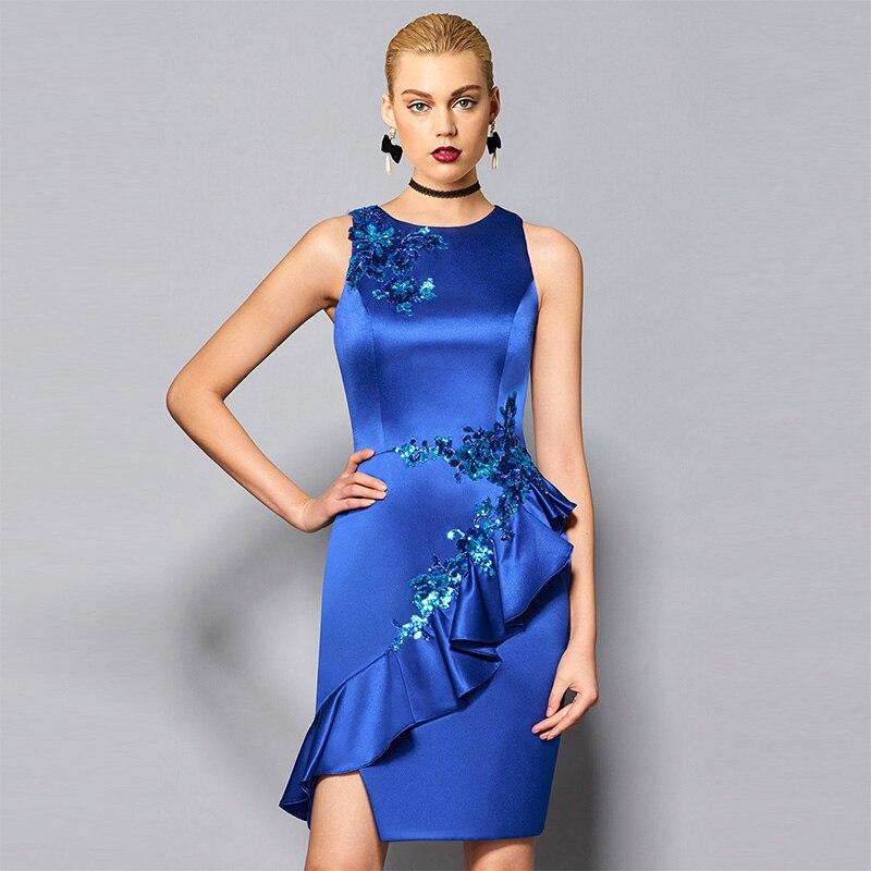 Tanpell gaine courte robe de cocktail bleu foncé paillettes sans manches au genou longueur robe dame fête formelle plus robes de cocktail personnalisées