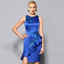 Tanpell sheath short cocktail dress dark blue sequins sleeveless knee length gown lady party formal plus custom dresses