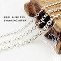 Becklace Real Pura plata Esterlina 925 sSlver Collar Unidos Círculo Collar de Cadena de Joyería de Plata Para Mujer de Plata de La Cadena