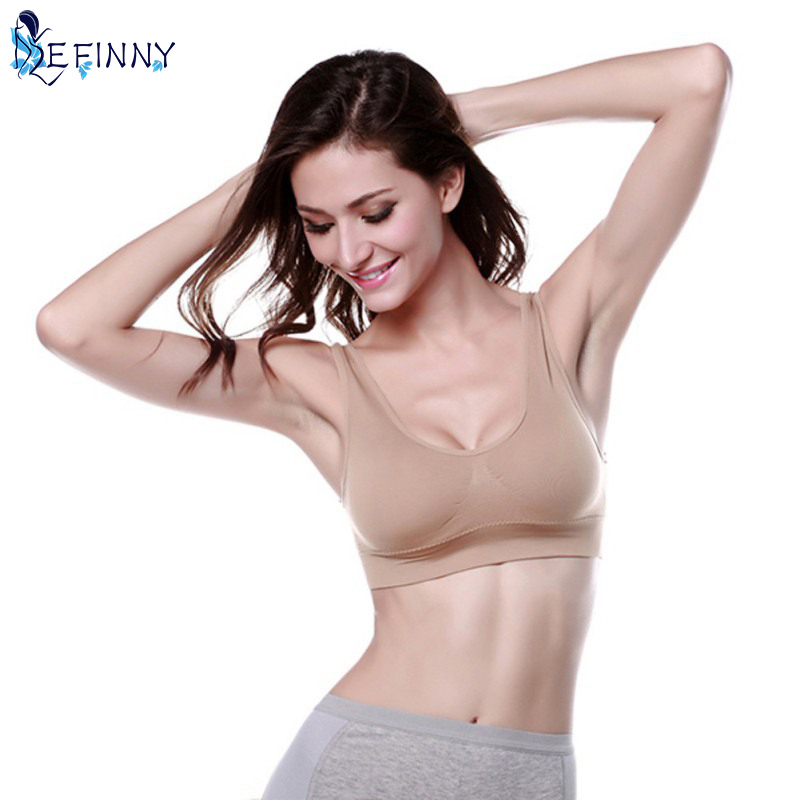Women Ladies Esportes Vest Bra Tops Underwear Seamless Slim Casual Push Up Bra Size M-XL