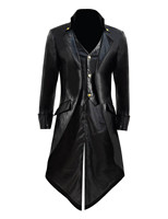 SteamPunk Tailcoat Men's PU Jacket Stage Coat Fake two pieces Cosplay Tailcoat for Show Halloween Party