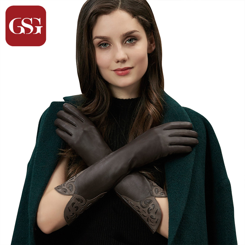 GSG Women Long Leather Gloves s Fashion Patched Ladies Driving Gloves Winter Warm Gloves Elbow Opera Long Gloves