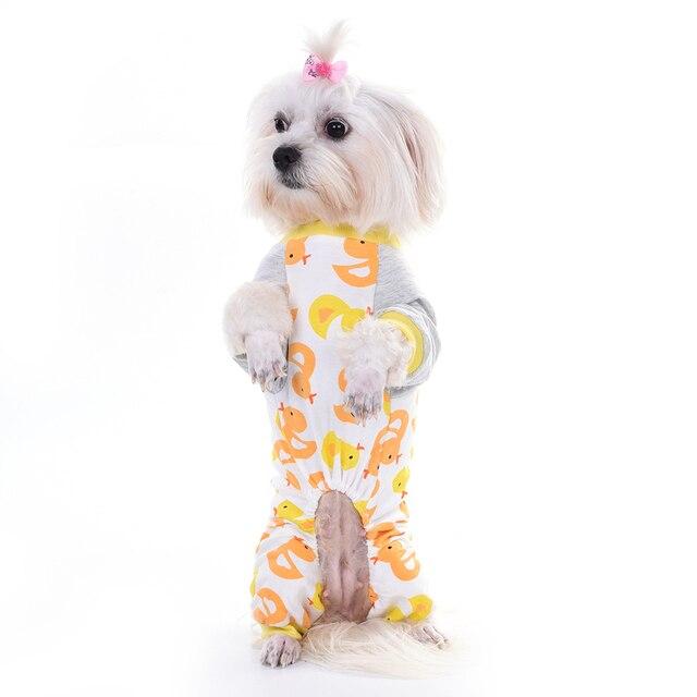Taonmeisu lindo patrón pato perro ropa de algodón pijamas Mono para ...