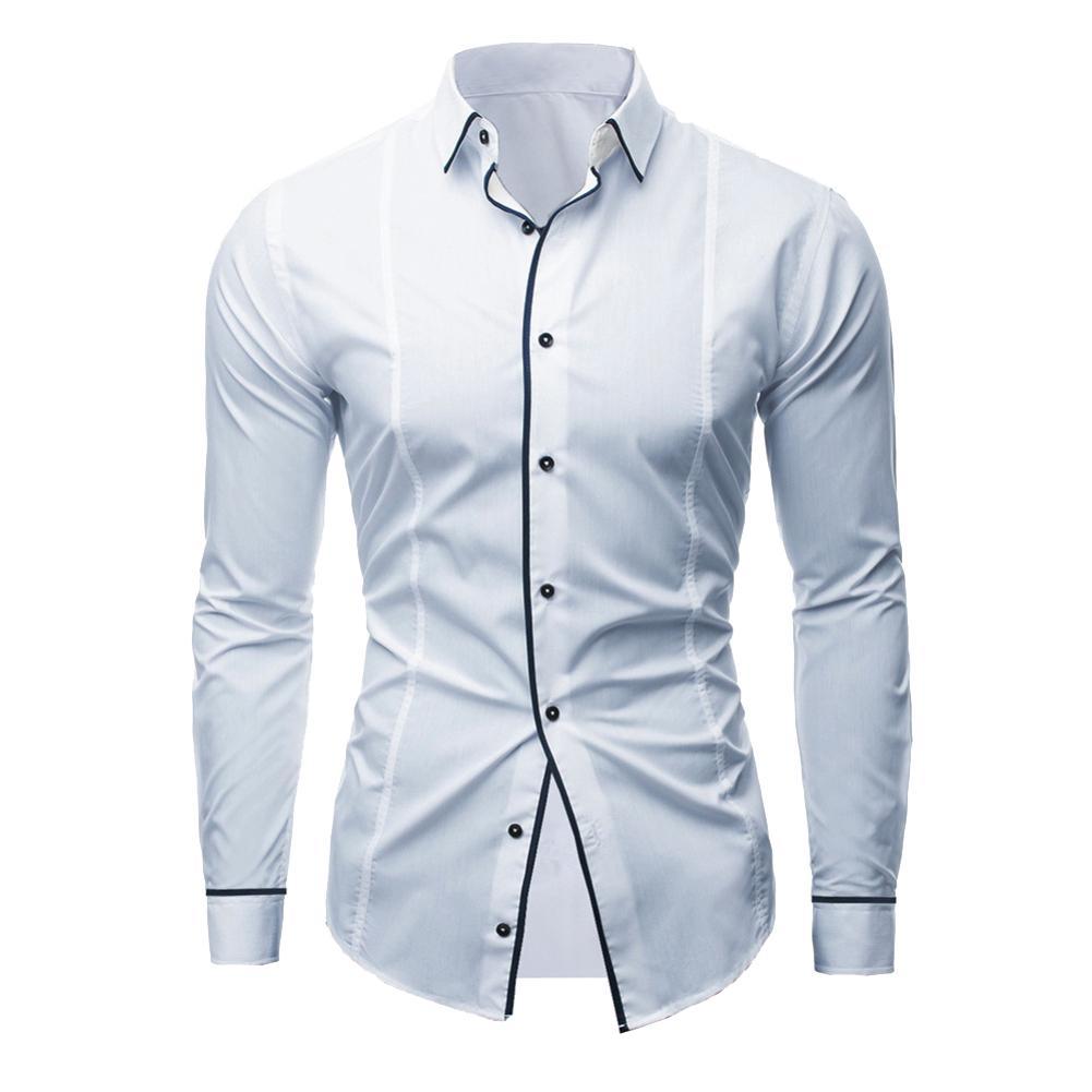 2018 Hot Fashion Turn-down Kraag Lijn Decor Lange Mouwen Slim Toevallige Mannen Shirt Top Ideaal Cadeau Voor Alle Gelegenheden