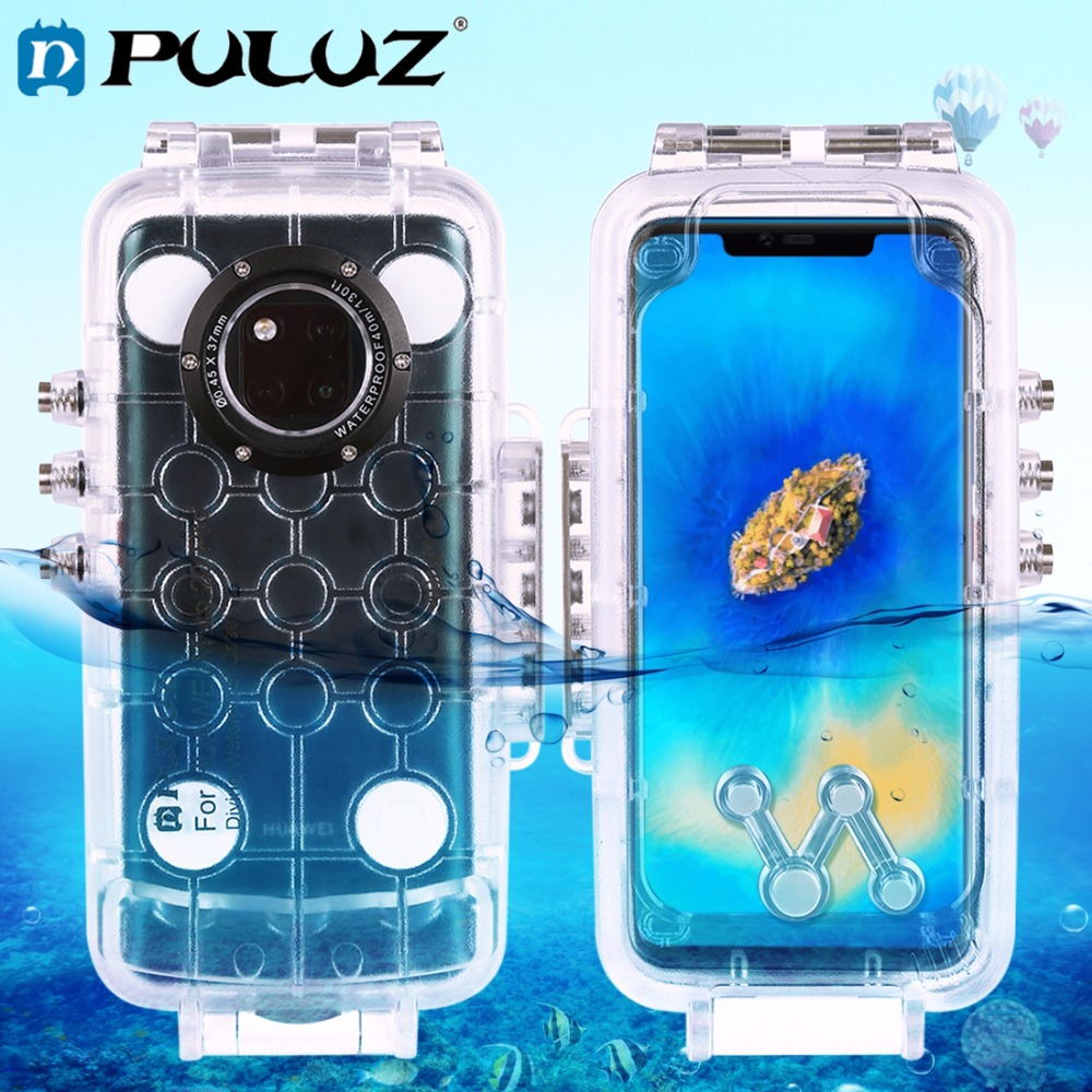 PULUZ 40m Waterproof Diving Housing For Huawei Mate 20 Pro Photo Video Taking Underwater Cover Case-in Sports Camcorder Cases from Consumer Electronics    1