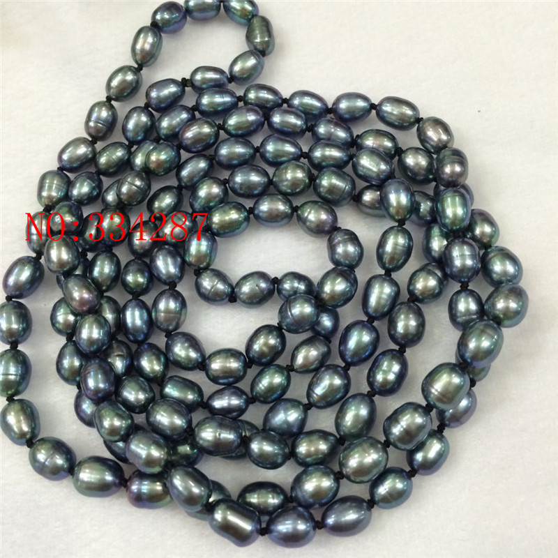 Natural Freshwater Pearl Black Peacock Green Rice Necklace 7 8MM long 50inch