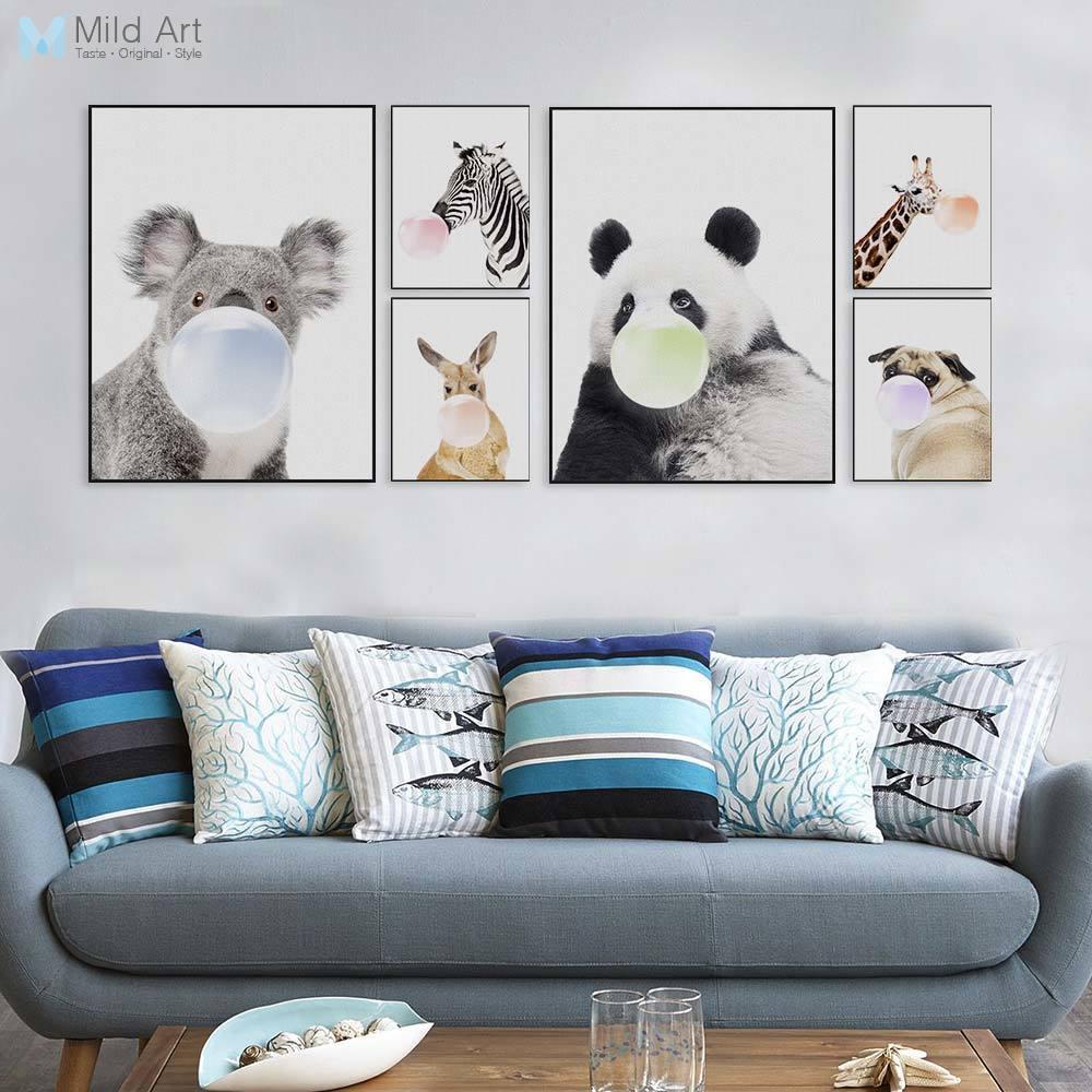 북유럽 카와이 동물 팬더 얼룩말 기린 강아지 재미 있은 팝 포스터 인쇄 홈 월 아트 그림 어린이 방 장식 큰 캔버스 회화