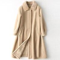 Новые весенние стрижки овец пальто Новинка весеннее пальто Женская длинная стильная норки воротник модная шерстяная одежда пальто с мехом