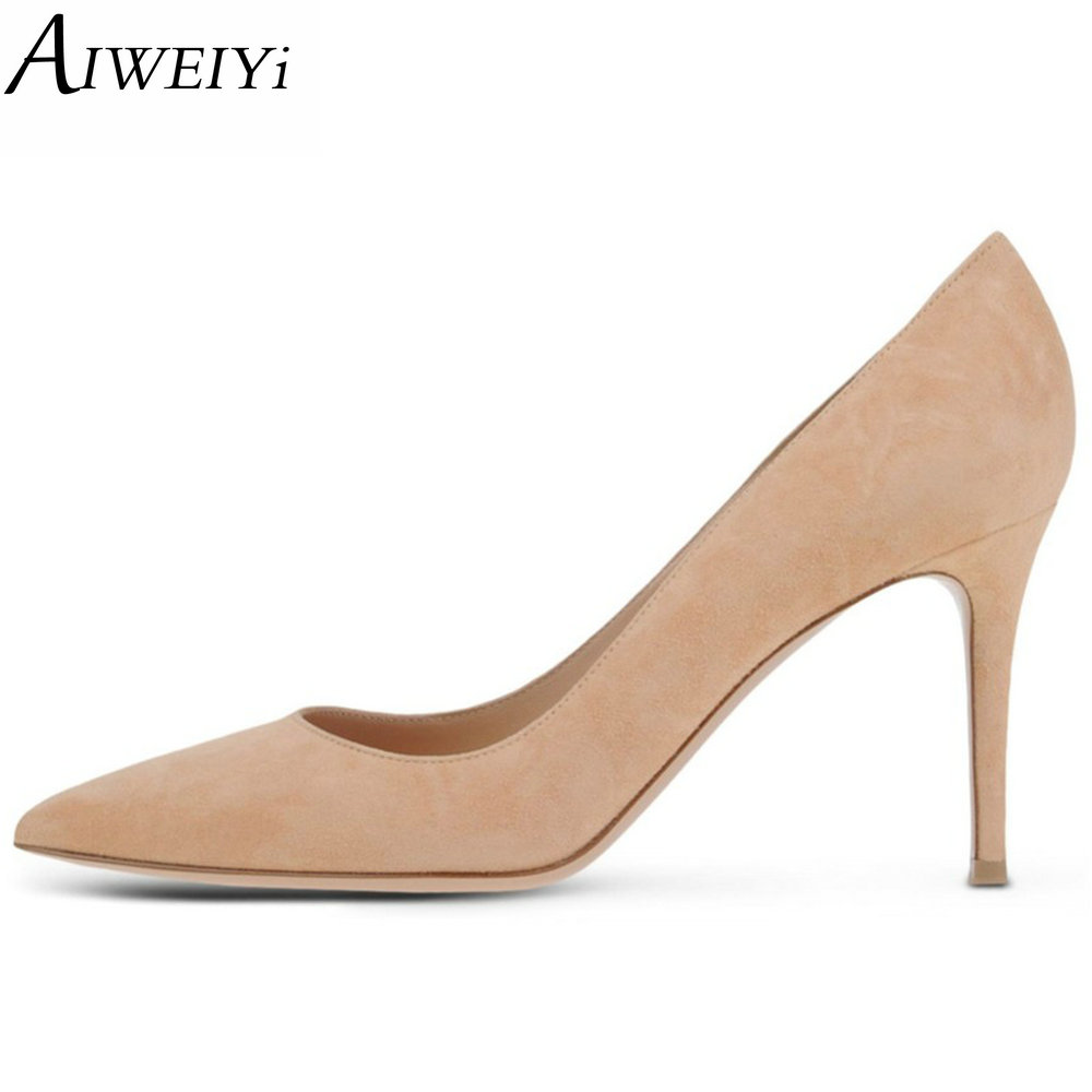 AIWEIYi Women High Heels Shoes Pointed Toe Pumps Silk Fabrics Pumps Slip On Wedding Bridal Party Dress Elegent Prom Ladies Shoes