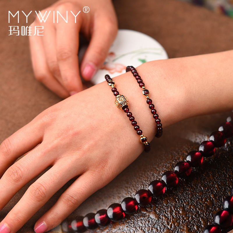 Fashion Handmade natural garnet bracelet women,Luxury vintage elastic bracelet, Ethnic red stone ethnic bracelet-in Strand Bracelets from Jewelry & Accessories