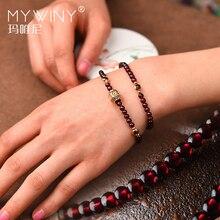 Mode Handgemaakte natuurlijke granaat armband vrouwen, Luxe vintage elastische armband, etnische rode steen etnische armband