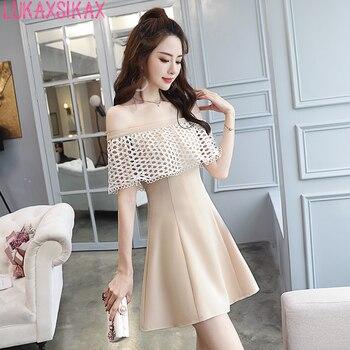 36330ed3e 2019 las nuevas mujeres vestido de verano coreano barra cuello hombro de  encaje Patchwork albaricoque Mini vestido Sexy vestido de Club