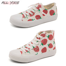 ALL YIXIE 2019 NEW Fashion Summer Strawberry Casual Woman Sneakers Platforms Canvas Shoes Korean Version Small White Female Shoe