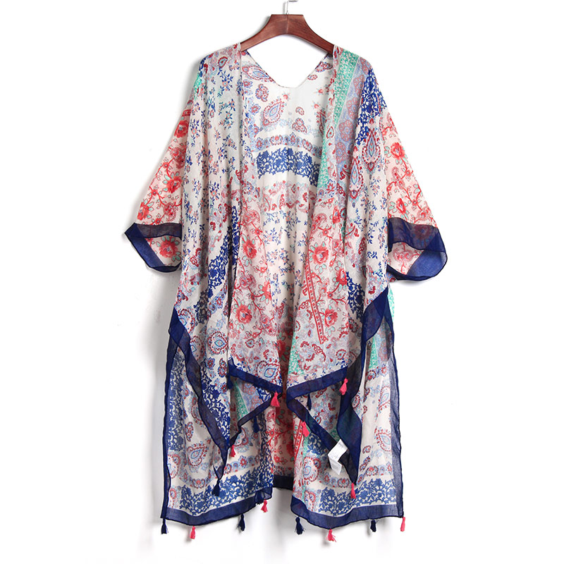2017 Summer Women Retro Floral Chiffon Bikini Cover Up Kaftan Sexy Swimwear Beach Cover Up Bikini Dress Cardigan Beach Dress