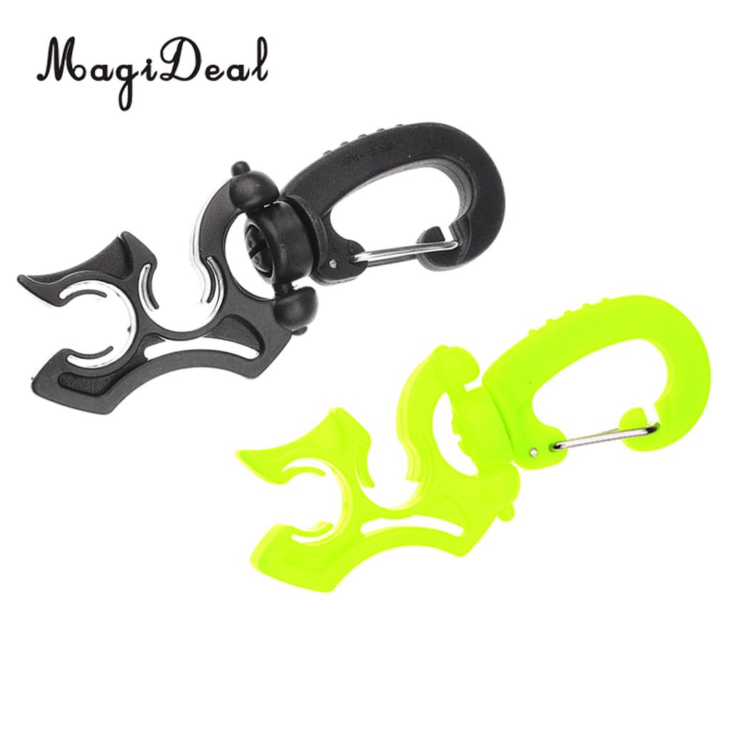 MagiDeal 2Pcs Universal Scuba Diving Regulator Double BCD Hose Clip Holder with Snap Hook Buckle Diving Hose Holder 3.9x1.4