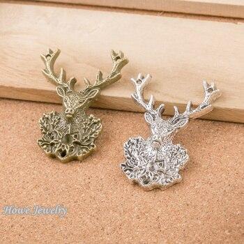 12 Uds vintage cornamenta de ciervo encantos ajuste para colgante estilo europeo DIY joyería hallazgos D063