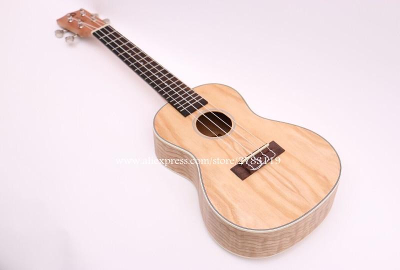 24 Concert Electric Acoustic Ukulele Uke Instrument With Full ASH Wood Top/Body,ukelele guitars,mini 4 strings guitar