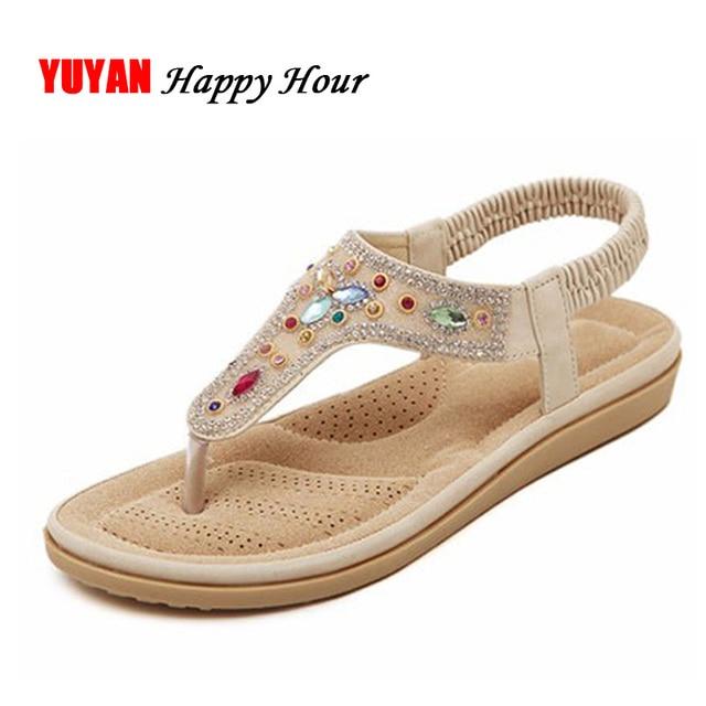 e68e2841f7c9 New Bohemian Style 2018 Summer Women Shoes Fashion Womens Sandals Flat Heel  Brand Beach Summer Shoes Ladies Sweet T175