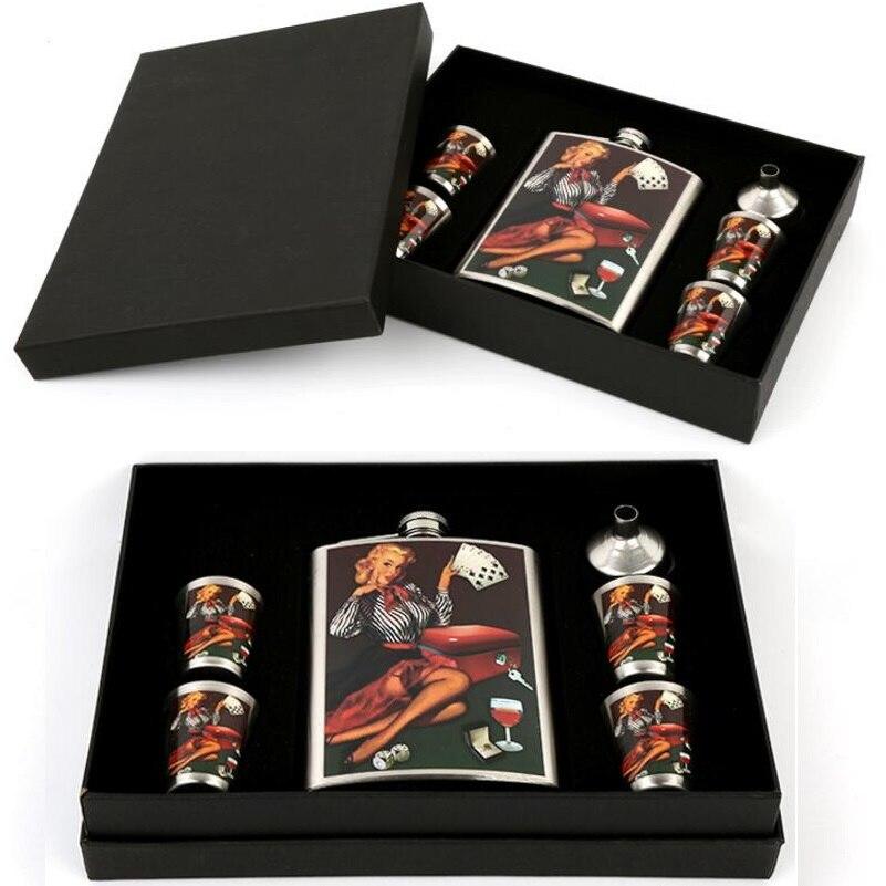 Livraison Gratuite Creative Acier Inoxydable Hanche Flacon Flacons pour Liqueur Cadeau ensemble avec Bonus Entonnoir et Verres à Liqueur et Boîte-Cadeau (00411)