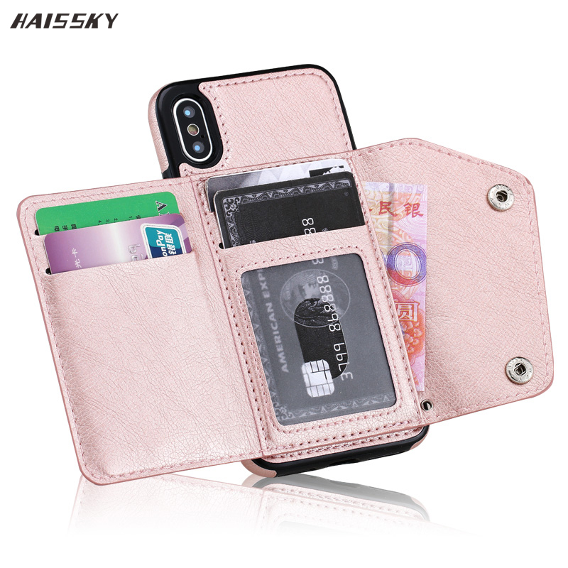 HAISSKY Case For iPhone XS Max XR 7 8 Plus Case Wallet Flip Cover Card Leather Phone Case Back Fundas For iPhone 6 6s Plus X 10