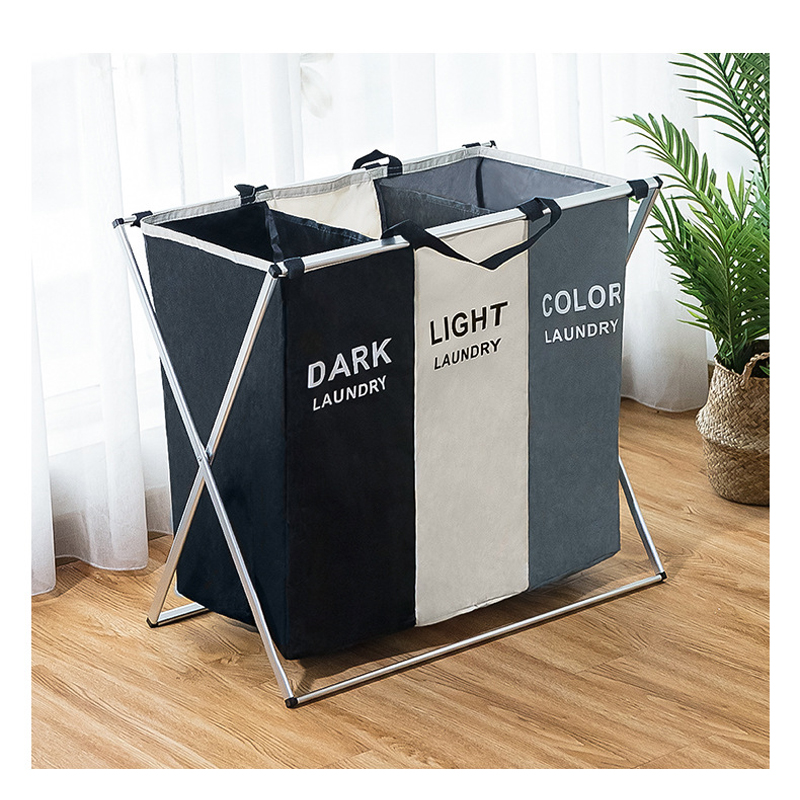 Image 2 - Dirty clothes Storage basket Three grid Organizer basket collapsible large laundry hamper waterproof home laundry basket-in Storage Baskets from Home & Garden
