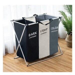 Image 2 - Schmutzige kleidung Lagerung korb Drei grid Organizer korb faltbare große wäschekorb wasserdicht hause wäsche korb