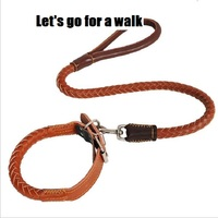 Let's go!! Fashion Leather Pet Dog Leash Collar&Leash Big Size Pet Dog Leash Rope Fashion Design Dog Collar Leash