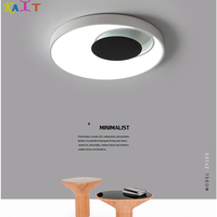 KAIT moderna levou acrílico Anel preto Branco luzes de teto para sala de estar quarto estudo lâmpadas de teto