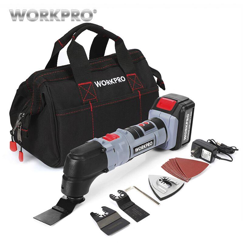 Workpro elétrica multifunções oscilante kit de ferramentas multitools ferramentas de oscilação de íon de lítio serra elétrica aparador