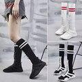 Женские белые носки HQFZO  высокие сапоги до середины икры  эластичные облегающие кроссовки  дизайнерские туфли  2018