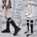 HQFZO Frauen Socken Weiß Stiefel 2018 High Mid Kalb Stiefel Lange Oberschenkel Hohe Stiefel Elastische Dünne Turnschuhe designer schuhe frauen luxus-in Kniehohe Stiefel aus Schuhe bei