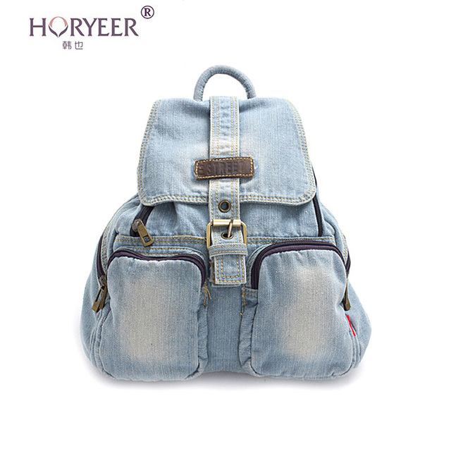12d02f704c52 HORYEER 2016 Women school backpack canvas backpack denim backpacks for teenage  girls vintage school campus bags travel bagpacks