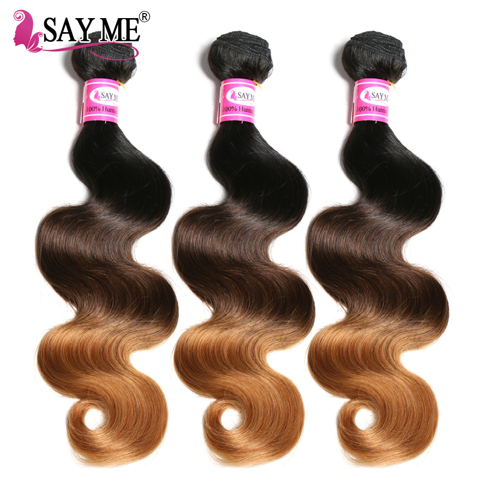 3/4 Bundles Ombre Brazilian Hair Body Wave Bundles Human Hair Bundles Deals Remy Ombre Human Hair Weave Extensions 1b/4/30 27-in Hair Weaves from Hair Extensions & Wigs    1