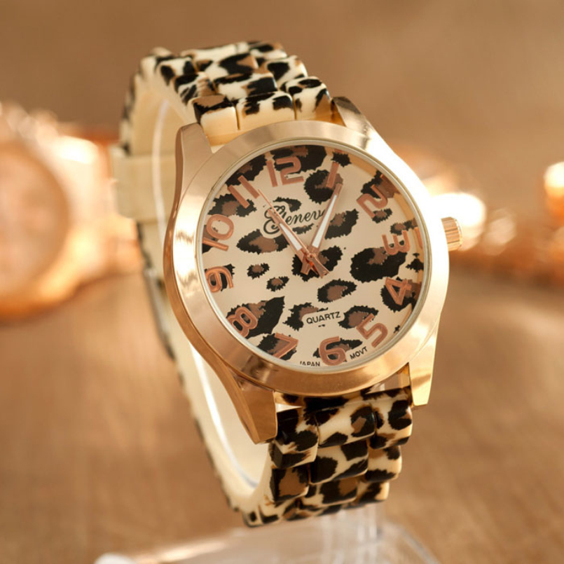 Excellent Quality Sale Casual Sexy Women Girls Ladies Geneva Leopard Jelly Silicone Quartz Wrist Watch Watches for Gift