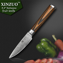 XINZUO NEW 3.5″ fruit knife Damascus kitchen knives Japanese vg10 paring knife damascus steel table parer knife FREE SHIPPING