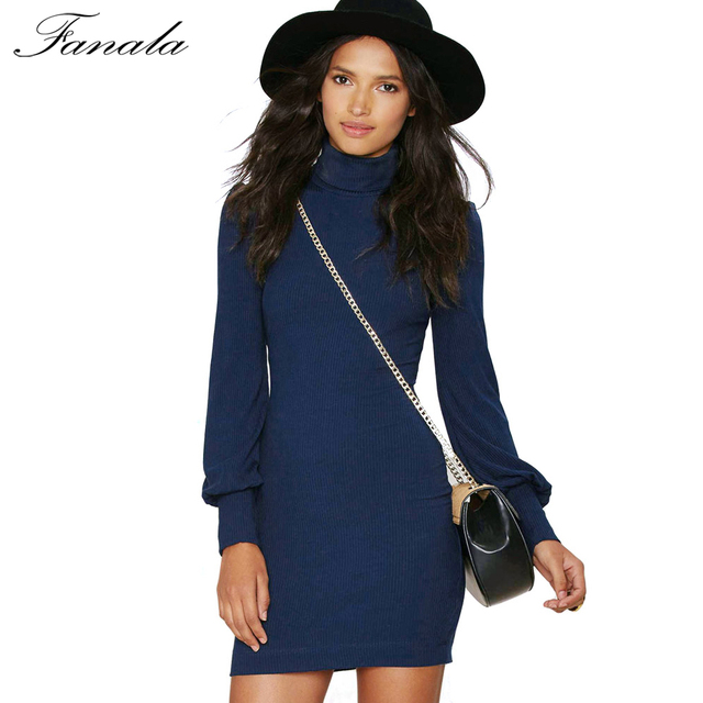 11ecc21132923 FANALA Women Autumn Winter Sweater Dresses Slim Turtleneck Sexy Bodycon  Solid Color Robe Christmas Long Sleeve Knitted Dress