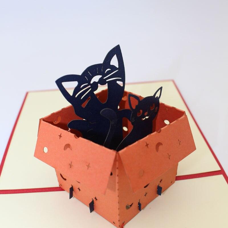 2 18 11 De Descuento Doreenbeads Creativo 3d Caja Gatos Tarjetas Pet Gato Papel Tarjeta De Corte Para El Día De Navidad Niños Cumpleaños Fiesta