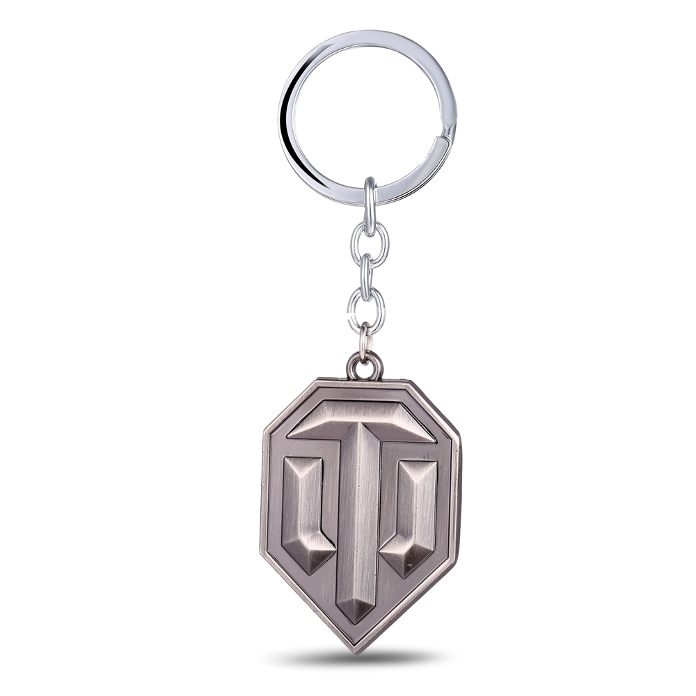 Mengtuyi Game Keychain Accessory Geometric World Of Tanks LOGO Pendants Key Chains Jewelry For Men Gifts image