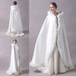 Длинный плащ для свадебной вечеринки, женский плащ из искусственного меха, зимний двухсторонний плащ с капюшоном