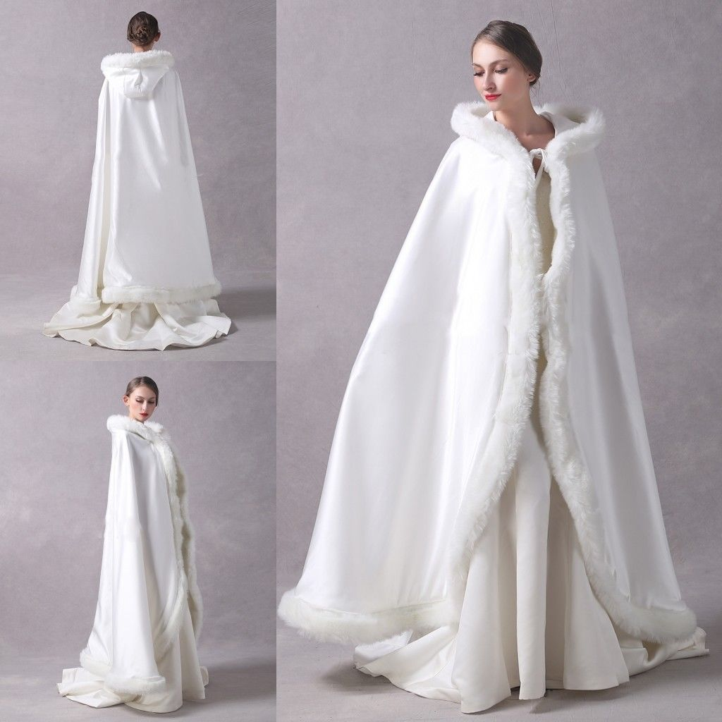 Long Wedding Party Cloak Women Coat Faux Fur Bride Winter Reversible Cape Hooded