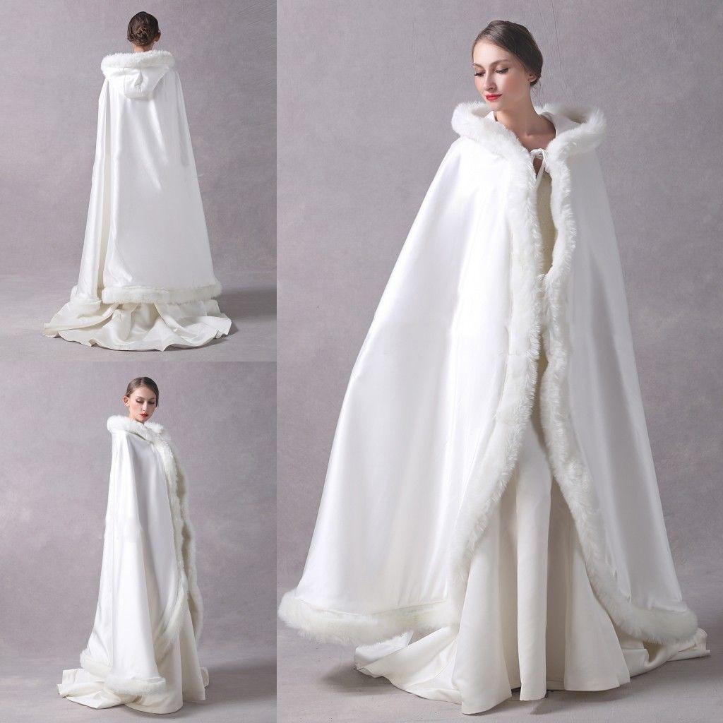 Long Wedding Party Cloak Women Coat Faux Fur Bride Winter Reversible Cape Hooded